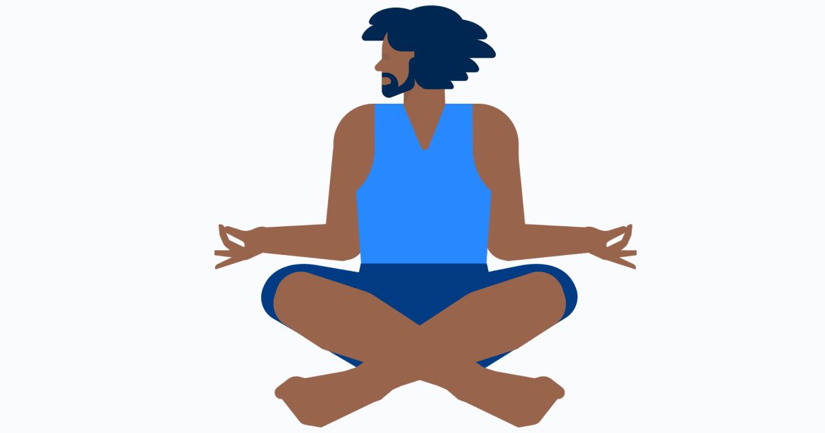 Get calm: enjoy the graphic set for the Yoga And Meditation day. Cool man meditating