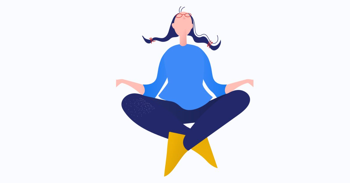 Get calm: enjoy the graphic set for the Yoga And Meditation day. Meditating girl