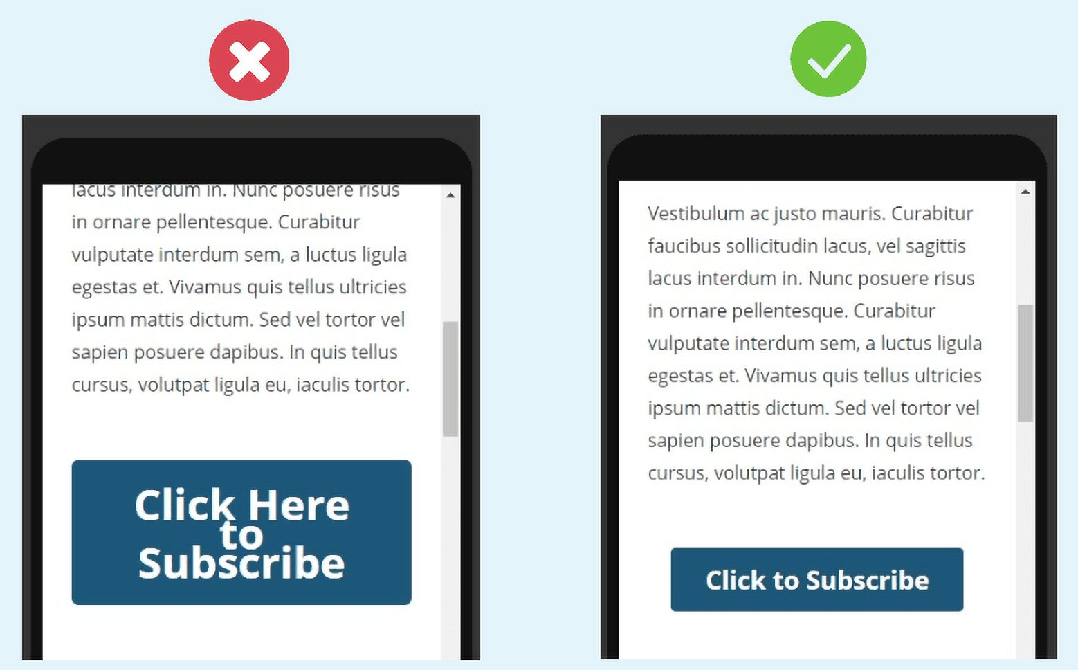 10 simple steps to make your website mobile-friendly: Optimized Buttons