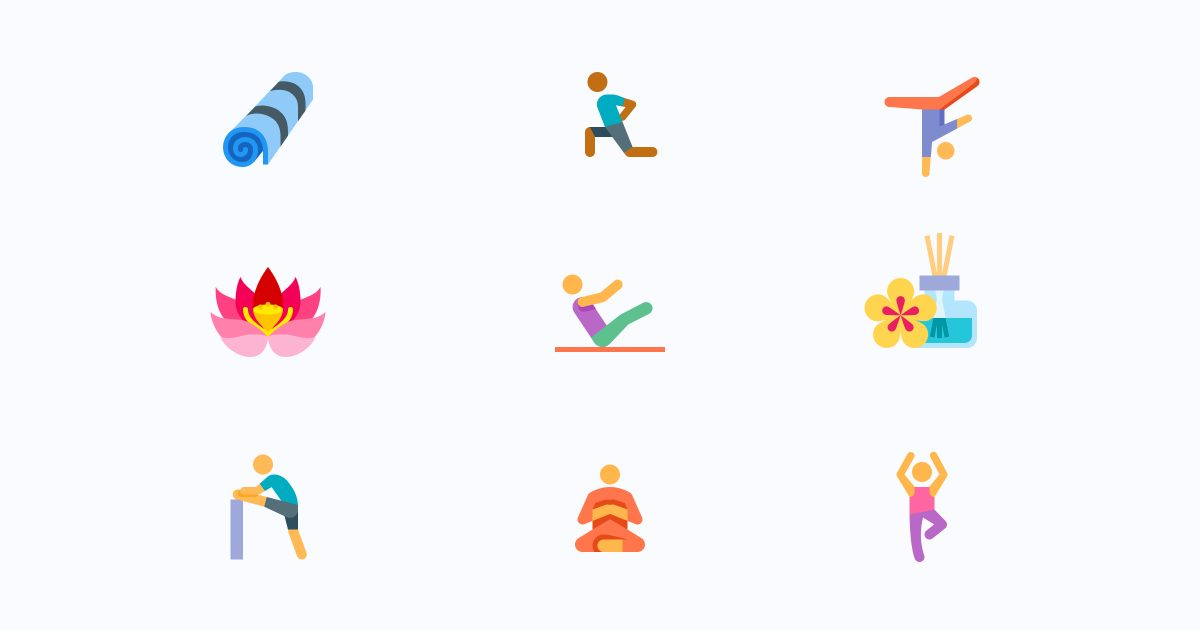 Get calm: enjoy the graphic set for the Yoga And Meditation day. Yoga and Meditation icons in the Color style