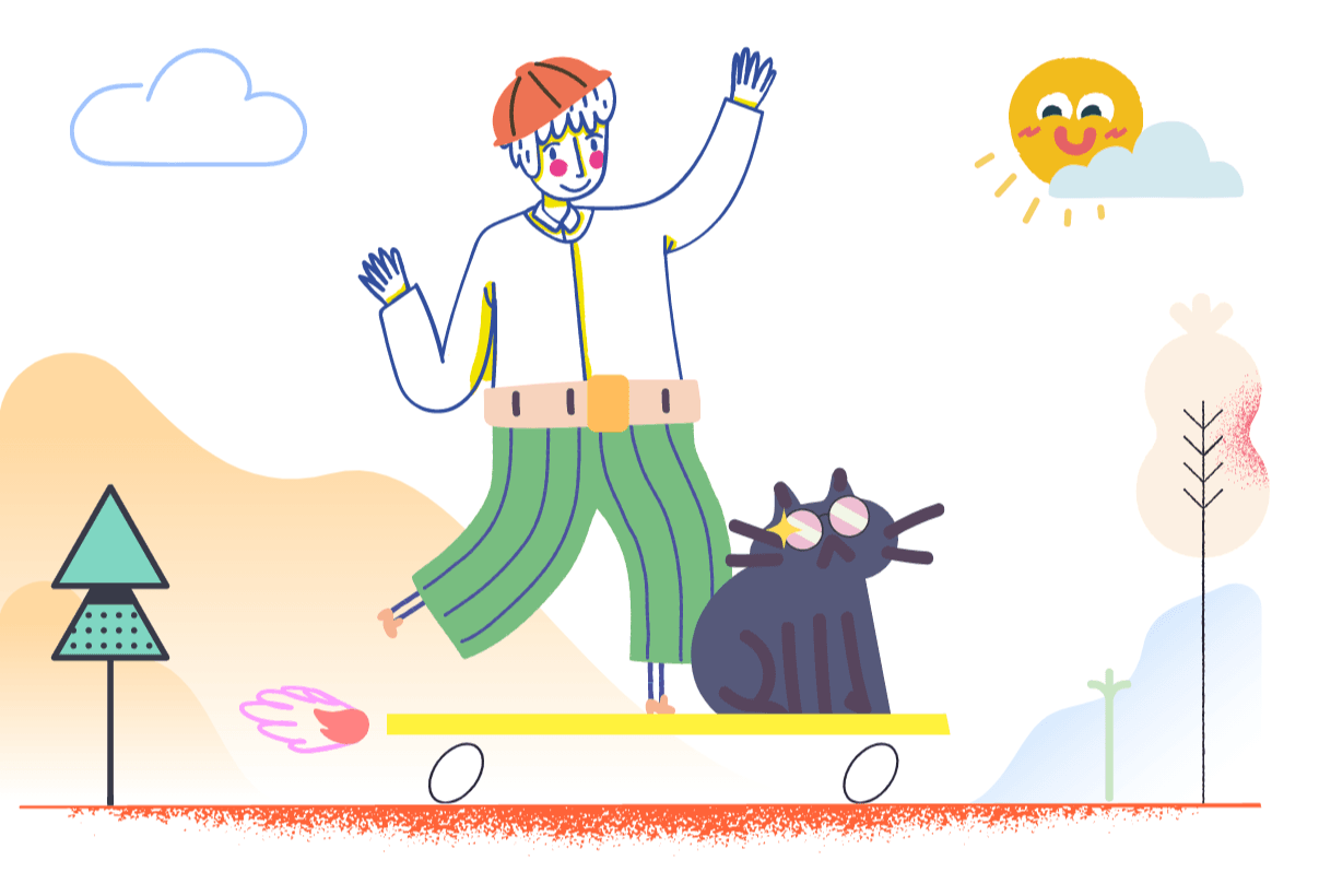Mega Creator: a new player in DIY graphic design. Child drawing: Boy and cat
