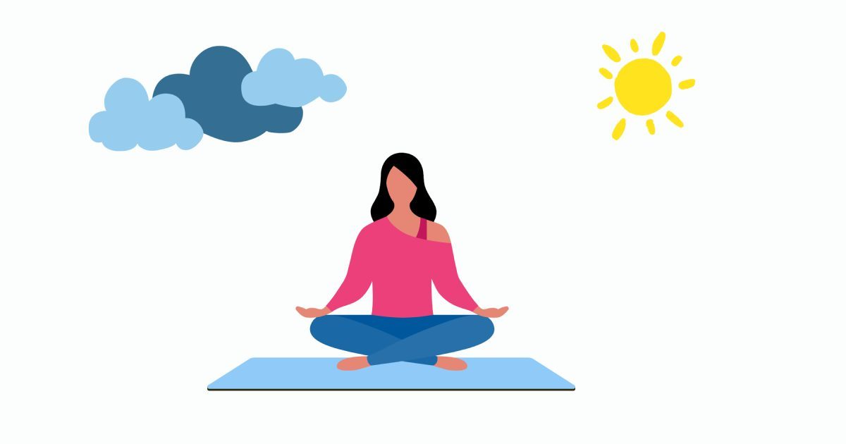 Get calm: enjoy the graphic set for the Yoga And Meditation day. Woman meditation in nature