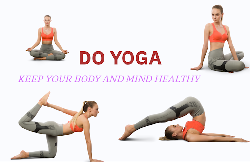 Get calm: enjoy the graphic set for the Yoga And Meditation day. Sporty young woman doing yoga 4 variants