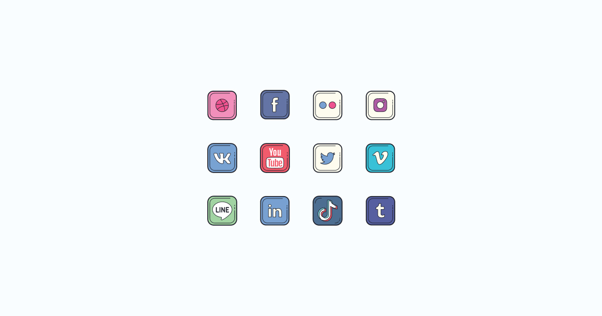 Like, Share, Repost: an ultimate bundle of eye-catching graphics for Social Media Day: icons set in Color Hand Drawn style on light blue background