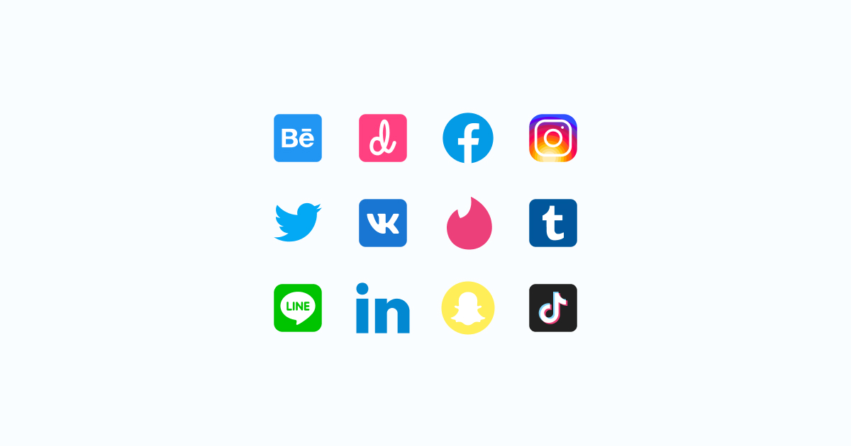 Like, Share, Repost: an ultimate bundle of eye-catching graphics for Social Media Day: icons set in Color style on light grey background