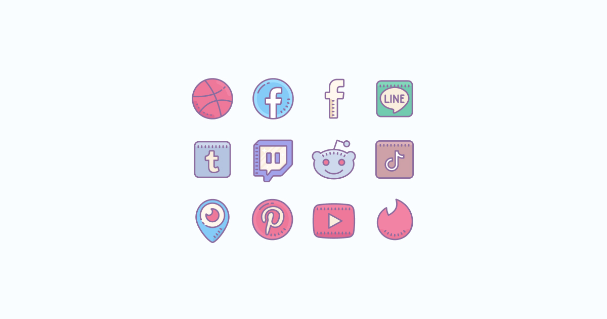 Like, Share, Repost: an ultimate bundle of eye-catching graphics for Social Media Day: icons set in Cute Color style on light blue background