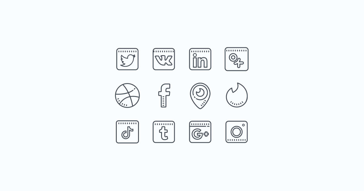 Like, Share, Repost: an ultimate bundle of eye-catching graphics for Social Media Day: icons set in Cute Outline style on light blue background