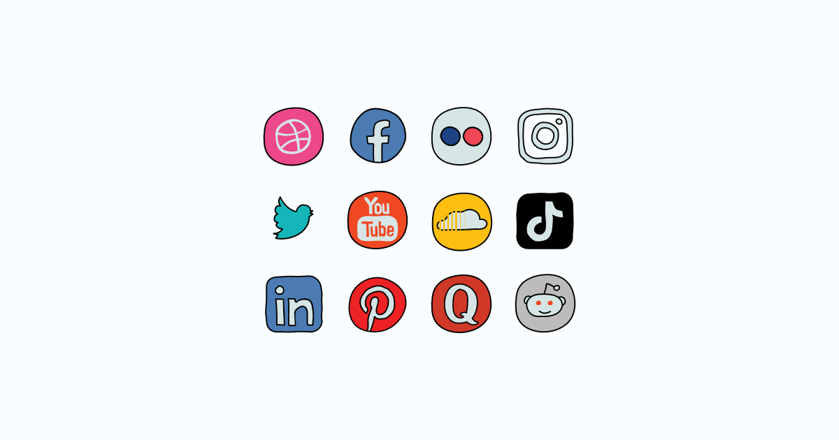Like, Share, Repost: an ultimate bundle of eye-catching graphics for Social Media Day: icons set in Doodle style on light blue background