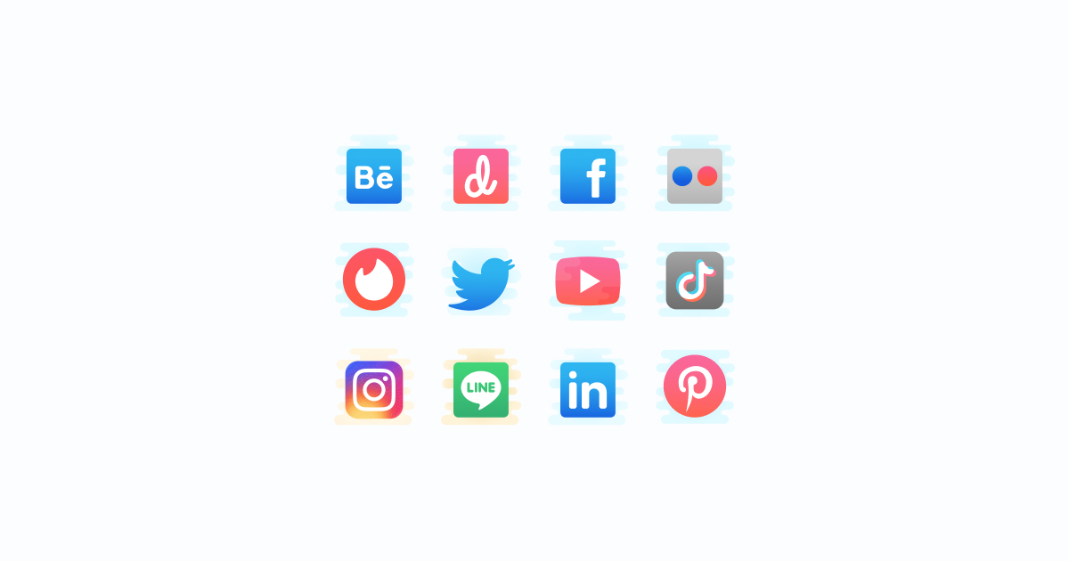Like, Share, Repost: an ultimate bundle of eye-catching graphics for Social Media Day: icons set in Pastel Glyph style on light grey background