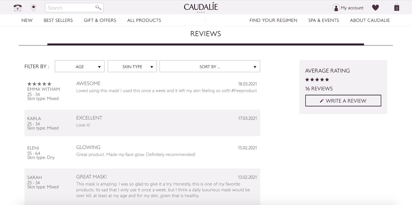 How to Design a Conversation-Optimized Online Shopping Website: Caudalie page