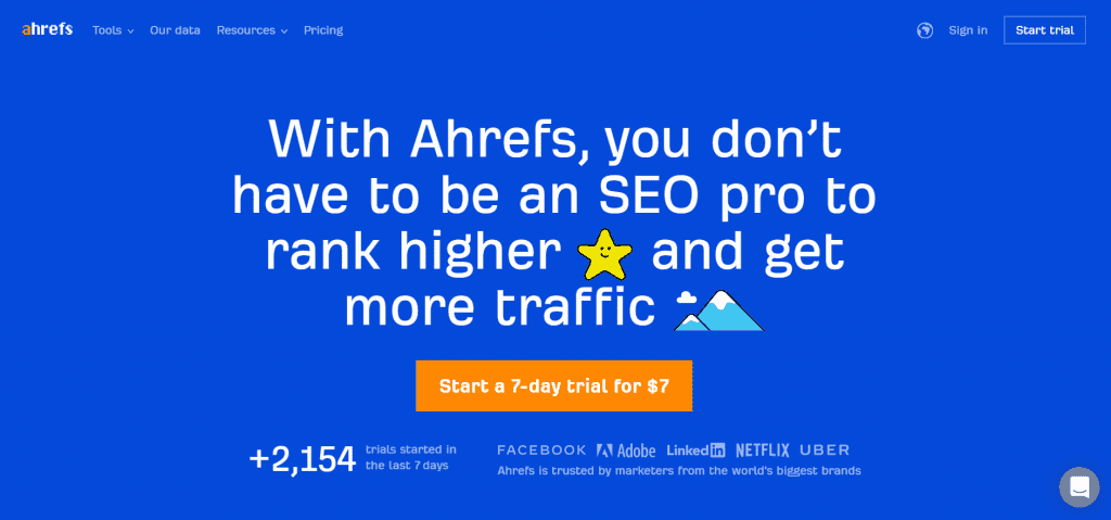 """What SEO metrics a UX designer should focus on: An Ahrefs CTA advertises SEO services and reads, """"start a 7-day trial for $7."""""""