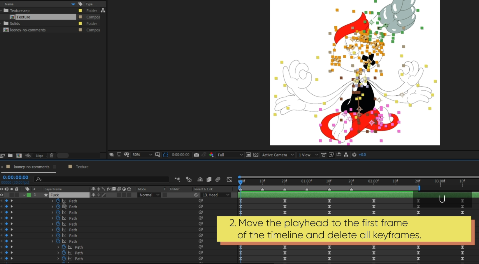How to export an SVG illustration from After Effects: Delete unnecessary keyframes