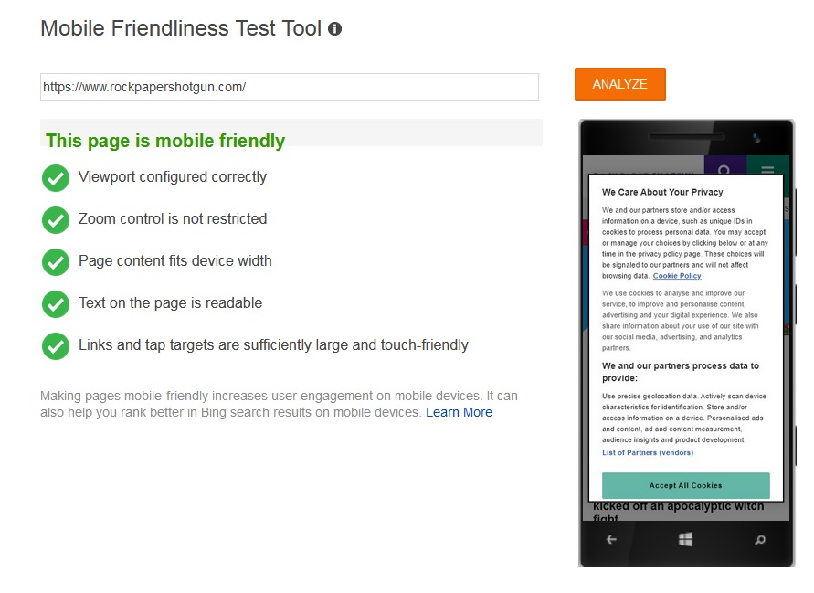 """What SEO metrics a UX designer should focus on: A mobile-friendliness test that reads, """"This page is mobile-friendly."""""""