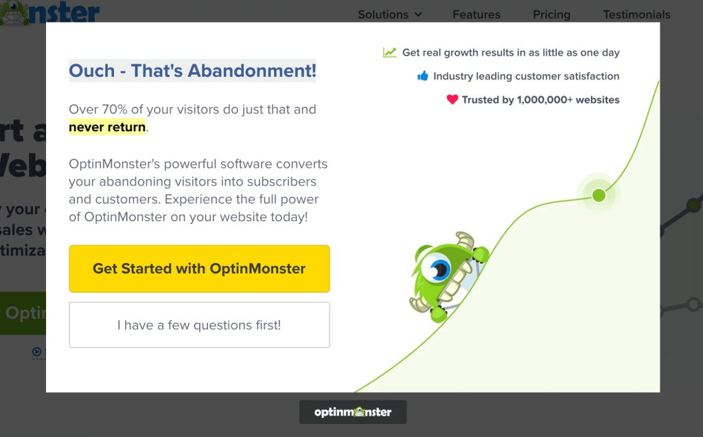 """: What SEO metrics a UX designer should focus onA popup prompting visitors not to leave a website, reading """"ouch – that's abandonment!"""" next to a smiling green monster."""