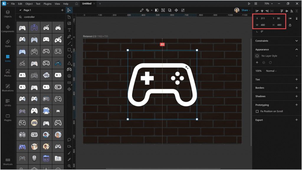 How to create a neon effect in Lunacy: Adjust the size and position of the icon.