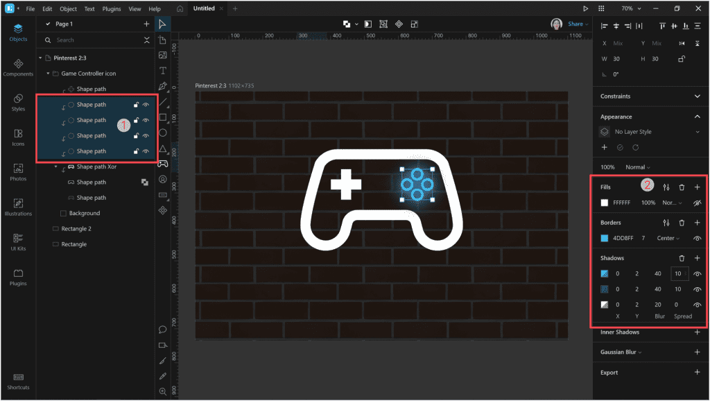 How to create a neon effect in Lunacy: add some shadows