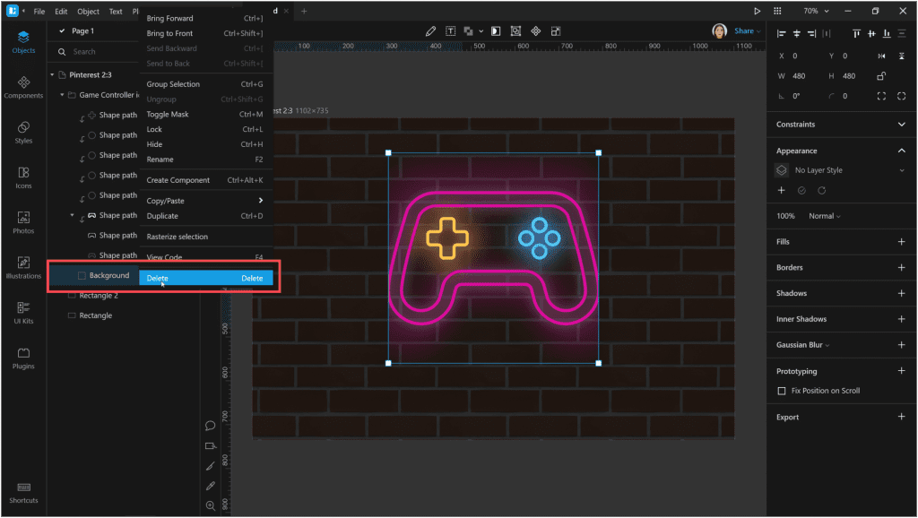 How to create a neon effect in Lunacy: Now let's remove the background that bounds our shadows.