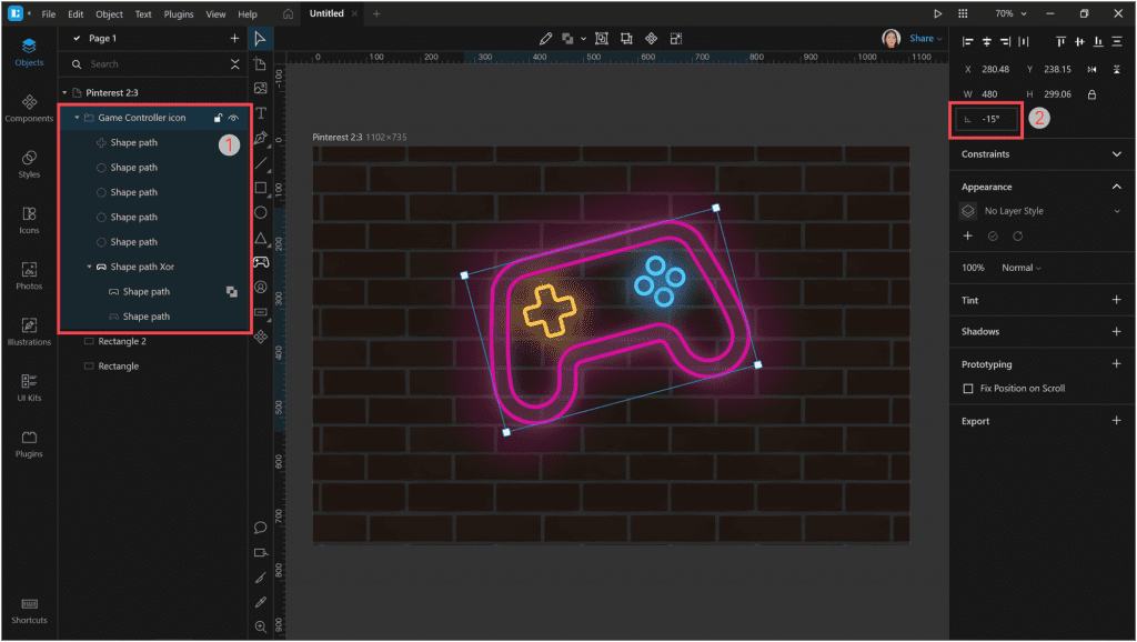 How to create a neon effect in Lunacy: Let's rotate our controller a little