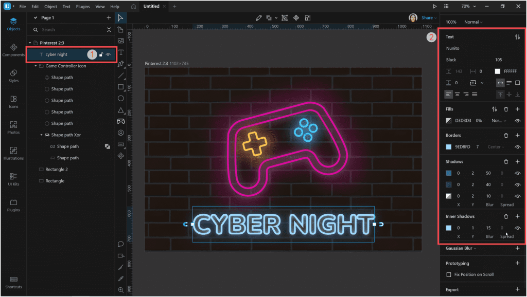 How to create a neon effect in Lunacy: add a border with the color #9ED8FD and thickness 7