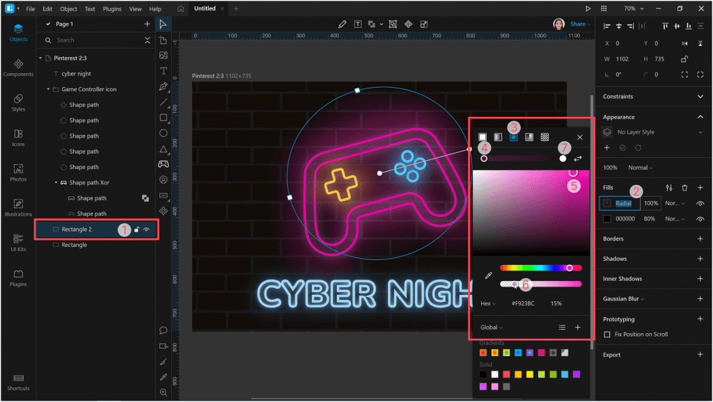 How to create a neon effect in Lunacy: add a glow under our objects