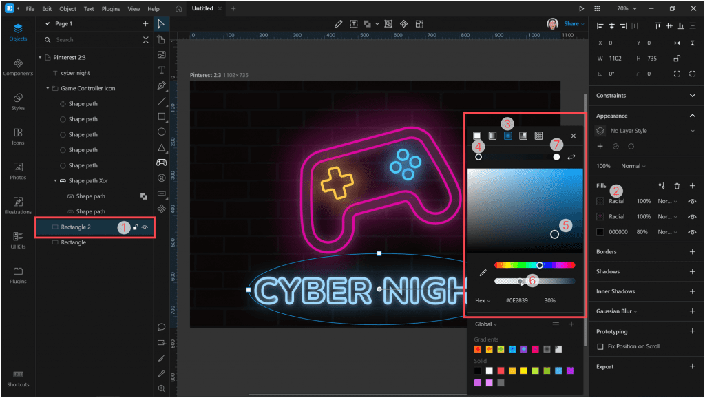 : How to create a neon effect in Lunacycreate the third fill layer with a radial gradient