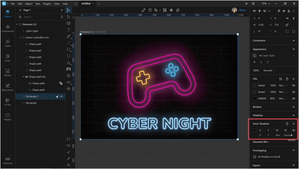 How to create a neon effect in Lunacy: Then change the spread to darken the edges of the image