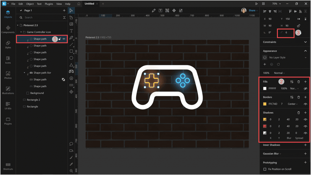How to create a neon effect in LunacyЖ change the corner radius to 6