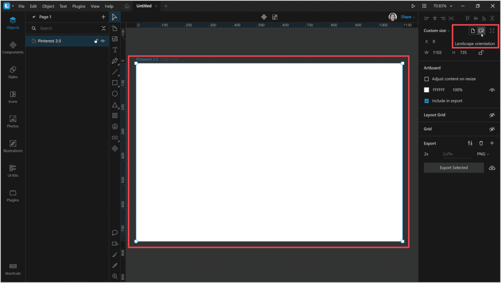 How to create a neon effect in Lunacy: Change the orientation of the artboard to Landscape