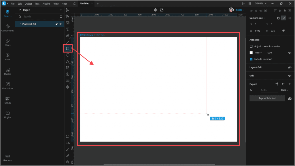 How to create a neon effect in Lunacy: add a rectangle the size of the artboard