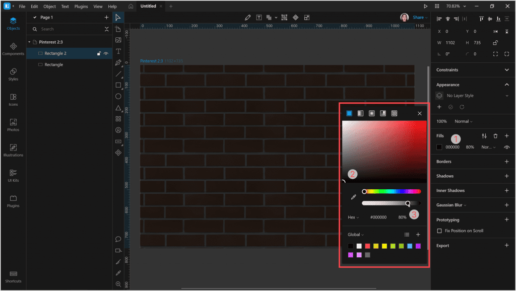 How to create a neon effect in Lunacy: Change the Fill of the rectangle