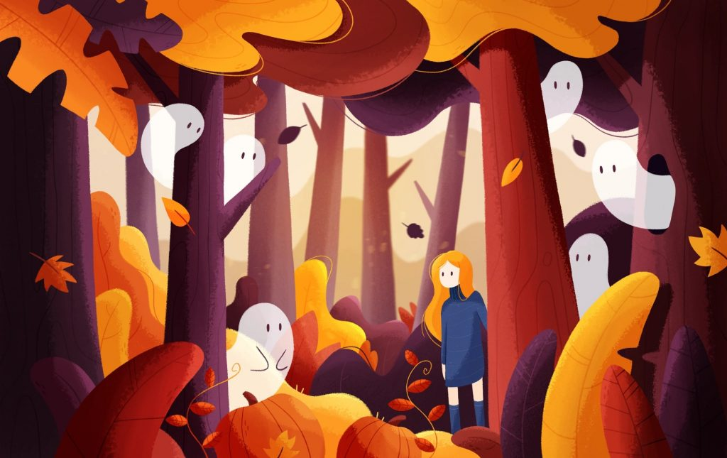 Beautiful autumn illustrations for UI, web, email and inspiration: Halloween magic