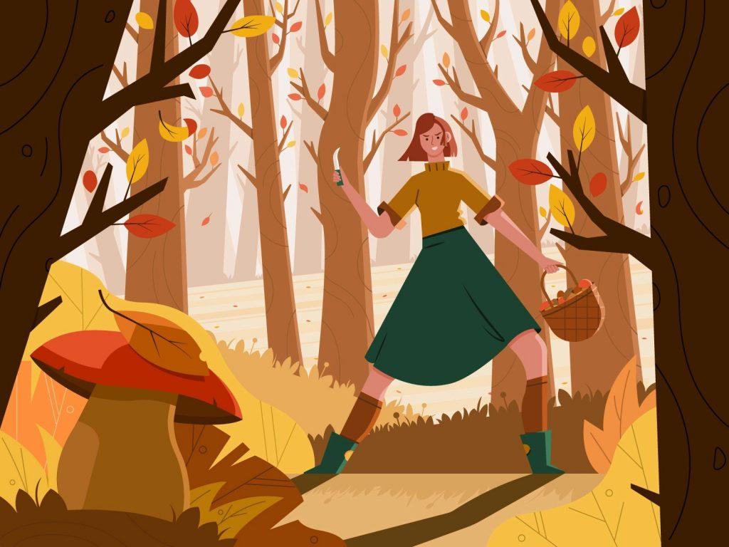 Beautiful autumn illustrations for UI, web, email, and inspiration: Mushroom Season: Let the Hunt Begin