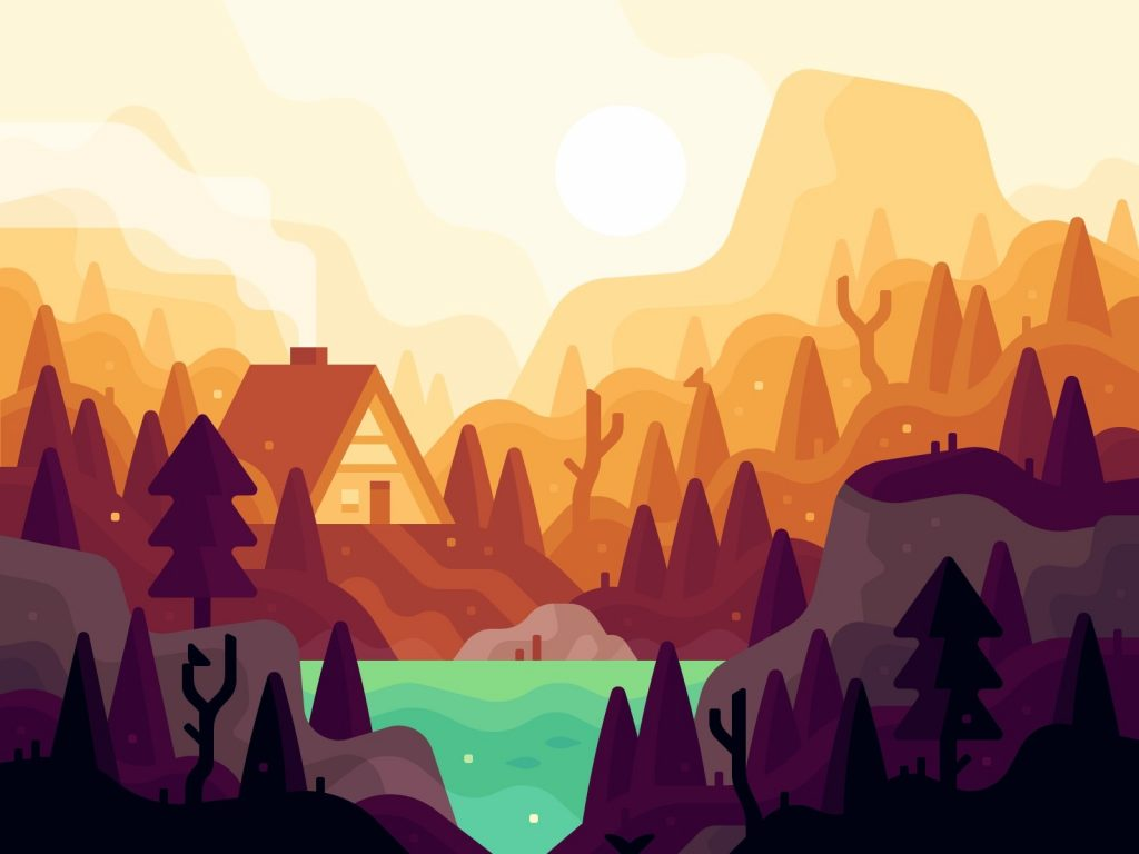 Beautiful autumn illustrations for UI, web, email, and inspiration: September landscape